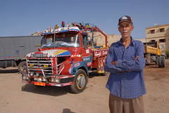TRUCKING IN MOROCCO (Claude  BARUTEL) Tags: africa portrait mountains sahara truck desert morocco atlas driver roads trucking decorated berliet
