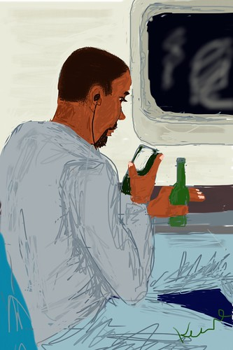 iPhone Drawing - Man on train (leaving MLA)