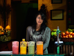 The girl of the juice place