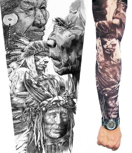 indian tattoos. Sleeve tattoo indian brave