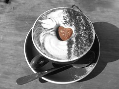 Chocolate Heart On Coffee