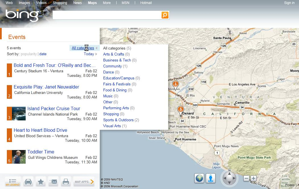 Bing Maps Local Events feature