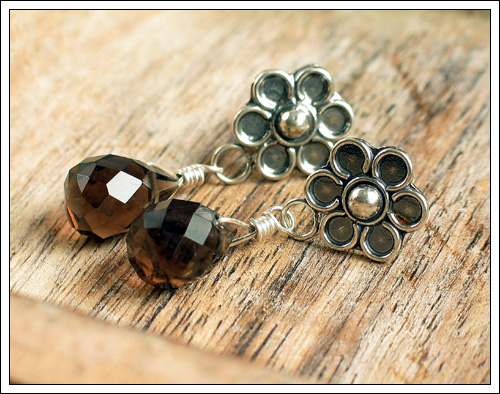 Smoky quartz & Bali silver ear studs