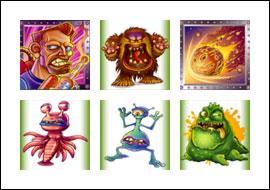 free Monster Meteors slot game symbols