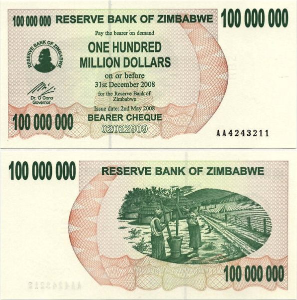 100 miliónov dolárov Zimbabwe 2008