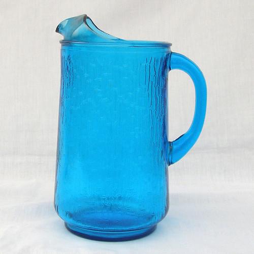 Antique Blue Glass Pitcher Blue Pagoda Glass Pitcher