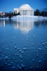Blue Ice (www.matthansenphotography.com) Tags: longexposure blue light lake snow cold reflection building ice water washingtondc frozen pond memorial dof president jeffersonmemorial blueice matthansen