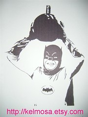 batman 002 (Large) (Kelmosa) Tags: blackandwhite art silhouette 60s drawing awesome batman marker celebrities sharpie bomb campy adamwest capedcrusader