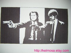 pulpfiction (Large) (Kelmosa) Tags: blackandwhite art silhouette gangster drawing afro pulpfiction cult marker celebrities sharpie hitmen samuelljackson travolta tarantino assassins