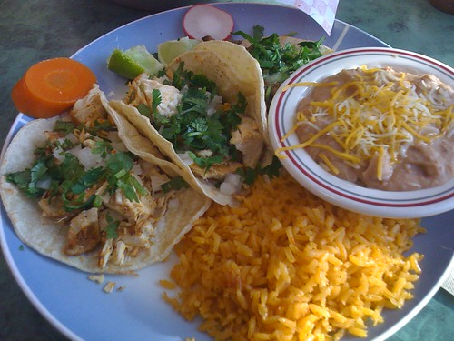 Tacos, rice and beans