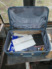 Suitcase left behind by Chris' parents (DuckShepherd) Tags: alaska notebook hiking backpacking mickeymouse bible suitcase magicbus intothewild stampedetrail chrismccandless