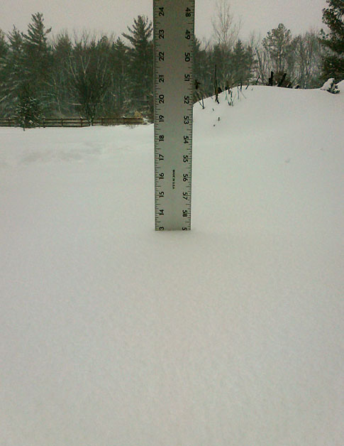13 inches as of 5PM on Feb 15, 2010