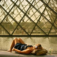 Summer Memories. (edwardkb) Tags: summer paris france water legs louvre memories starbucks headphones sunbather
