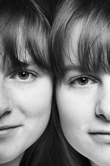 twins_06 (Ekaterina Savelyeva) Tags: family portrait bw woman man studio twins sister brother reflexion identical nuance
