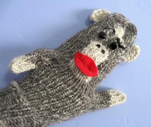 Sock monkey mitten