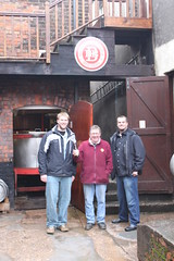 Kvin, Jeff (Owner/Engineer) and Ben.  Mash Tun in background.  He loved our Pale Ale! (Hangar 24 Craft Brewery) Tags: ca bridge ireland england ford beer europe kevin ben jessica hangar cook award craft trent brewery kristi 24 wright guiness distillery js section redlands upon burton 2010 midlands jameson ibd marstons zerek