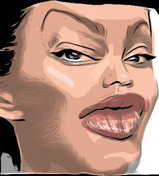 Drawing Angelina Jolie caricature with iPhone