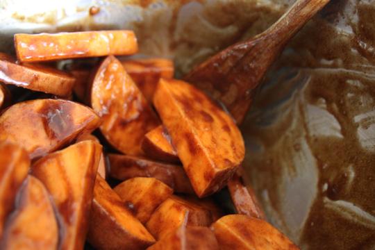 coated sweet potatoes