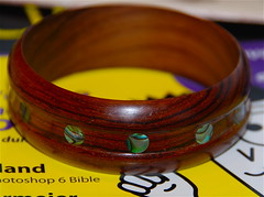 Made with love...... (ineedathis) Tags: art love woodwork nikon craft jewelry bracelet abalone inlay rosewood woodturning cocobolo pauashell d80 formywife iridescentcolors