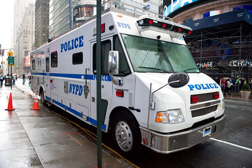 An NYPD mobile command post in Times Square