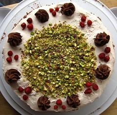 Chocolate Pistachio Strawberry Cake
