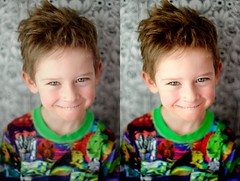 Noah, before and after using Pioneer Woman's Photoshop actions