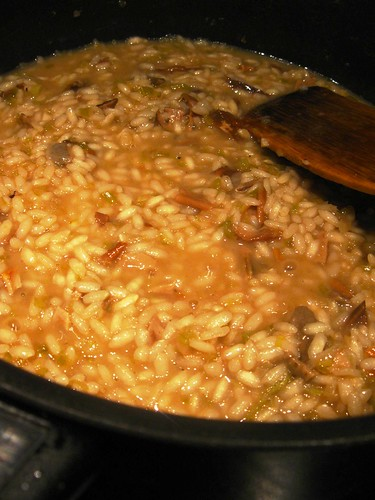 Simmering the risotto