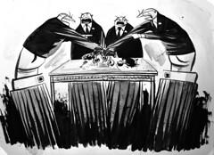Parliamentary Democracy (Tsquared1017) Tags: watercolor editorialcartoon indiaink washpainting