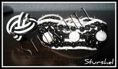 Conjunto pulsera y anillo blanco y negro