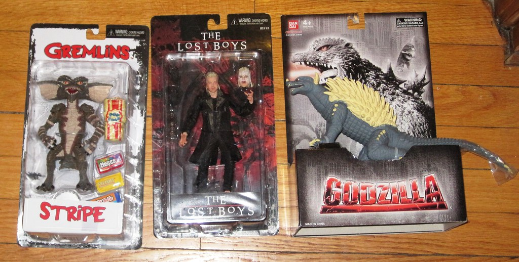 Stripe from Gremlins, David from Lost Boys, and Anguirus from Godzilla toys