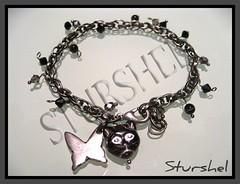 Pulsera plata envejecida gato (negros)