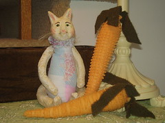 Spring Kitty & Carrots (That's My Cat) Tags: cat easter spring kitty carrots homedecor catdoll fabriccarrots
