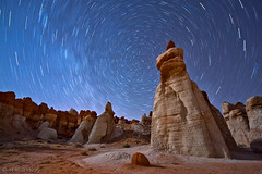 stars over another planet... (Mac Danzig Photography) Tags: longexposure arizona night landscape star desert trails astrophotography rockformations bluecanyon tiltshift