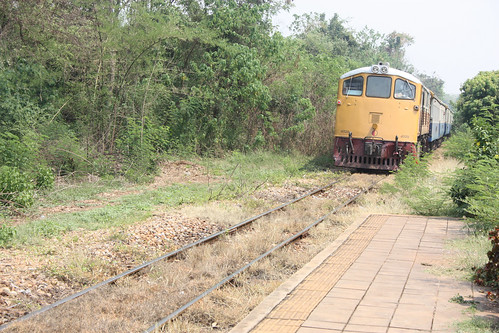 Train pulling in to Lumsum Station on the Death Railway