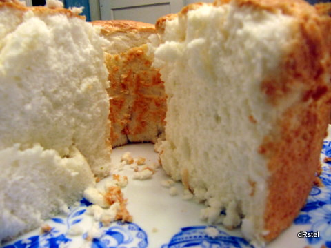 a canyon of angel food cake