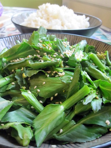steamed broccoli raab and white rice