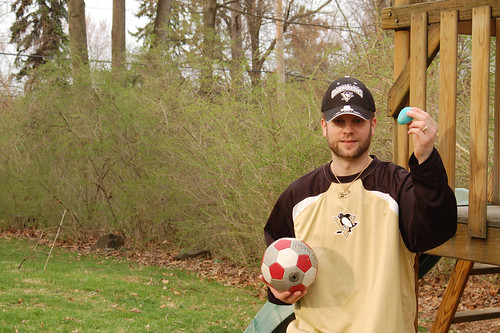 Mike finds an egg and a soccer ball.