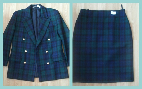 Plaid Double Breasted Skirt Suit