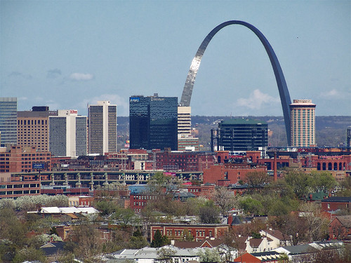 Compton Hill Water Tower, in Saint Louis, Missouri, USA - downtown Saint Louis with the Gateway Arch