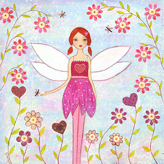 Dragonfly Fairy Collage Painting Art by Sascalia (sascalia) Tags: family pink flowers original girls summer flower cute love nature girl collage illustration angel fairytale butterfly garden painting children hearts bigeyes spring wings colorful pretty child princess dragonflies dragonfly folk mixedmedia contemporary butterflies redhead spots fairy fantasy spotty etsy dots magical whimsical polkadot faries sascalia