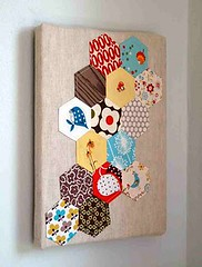 { urban } home goods - done! (.House. of A La Mode) Tags: urban art wall mushrooms japanese mod linen orla canvas fabric hexagon lush patchwork denyseschmidt fleamarketfancy heatherross hexie