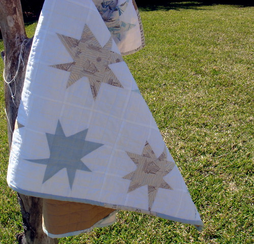 wonky stars in blue and tan