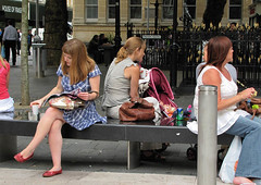 mid summer dream (Andy WXx2009) Tags: wales sitting streetphotography woman girls bench candid eating europe lunch women fastfood urban artistic steps city redhead people food legs sexy cardiff bags shopping femme fashion minidress drinking