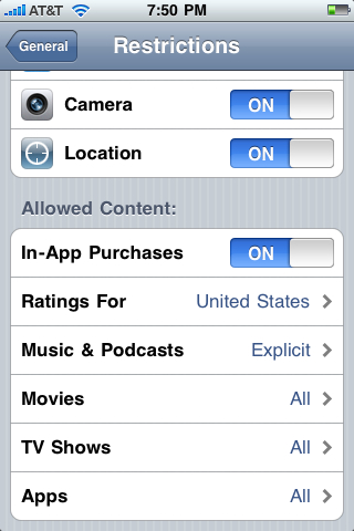iPhone / iPod Touch Parental Controls: Options for Restrictions