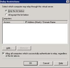 SMTP Relay settings