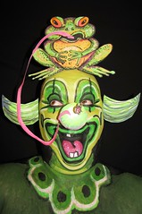 #515. Green Clown. (hawhawjames) Tags: green art face bug painting james paint artist mask circus clown makeup frog toad frogs ladybug clowning kermit bozo kuhn