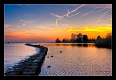Sunset (M van Eden) Tags: sunset sky water zonsondergang lucht haringvliet hellevoetsluis hdr vliegtuigcondensatie mdr3 airplanecondensation