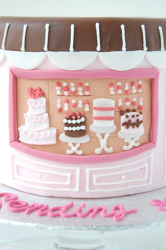 A Baby Shower - Chic Mommy cake (closeup window)