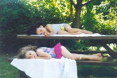 124.365 ({Anaka}Mo) Tags: baby tree cute green film girl childhood kids bench kid toddler child year 365 past sunbathing bathingsuit tutu 90s leotard