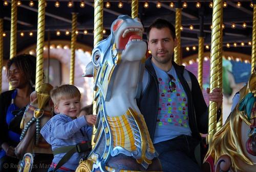 My boys on Sir Lancelot's Carousel